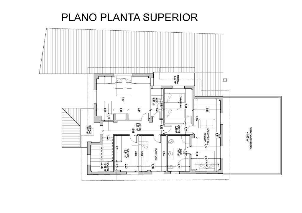 Planos planta superior chalet dilar vivienda tur stica for Planos de casas rurales